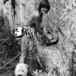 1981. Carole Bradley about to start up Wild Oats (19) at Arapiles. Back in those days dogs were a common sight at the base of the cliffs. This beautiful dog belonged to Bob Killip. The EB sh ...