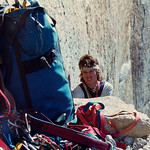 1979. Yosemite Valley, USA. Matt Taylor reaches the Bismark Ledge on Mescalito, El Capitan.