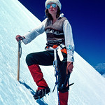 1981. Carole Bradley strikes the pose for the 'best dressed mountaineer of 1981' award. We were on the Southwest Ridge of Mt Aspiring in New Zealand. It was Carole's first alpine climb. She  ...