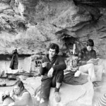 1981. Mark Moorhead (left), Kim Carrigan and Greg Garnham in the old camping cave at Bundaleer, Grampians. We were all there for a week, it never stopped raining and we hardly climbed at all ...