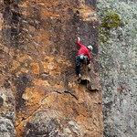 Mark Gould on a very stylish lead of Barbara Streisand (22), Falcons Lookout, Werribee Gorge State Park.