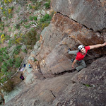 Tim Lockwood leading the imposing corner of Golgotha (18), Falcons Lookout, Werribee Gorge State Park.
