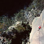 David Gallagher on the frightening Coming up for Air (20). South Side of the Gorge, Mt Buffalo, Victoria.