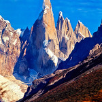 Cerro Torre (3102m), A. Standhart and A. Egger. A rare perfect Patagonian day. Los Glaciares National Park, Argentina, South America.