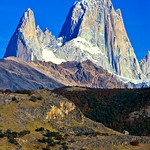 Fitz Roy (3405m) and its superb East Face. The peak on the left is Monjon Rojo. Los Glaciares National Park, Argentina, South America.