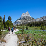 Walking through the meadows towards Cathedral Peak, on our way to Tuolomne Meadows.