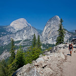 Walking up the trail from Happy Isles to Nevada Falls, Yosemite Valley, California.